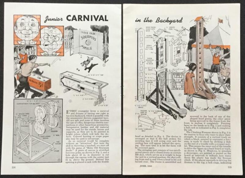 Carnival Games 1943 vintage HowTo build PLANS Kids Childrens School Fair