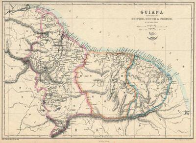 'Guiana Comprehending British, Dutch & French' Suriname Guyana.  LOWRY 1863 map