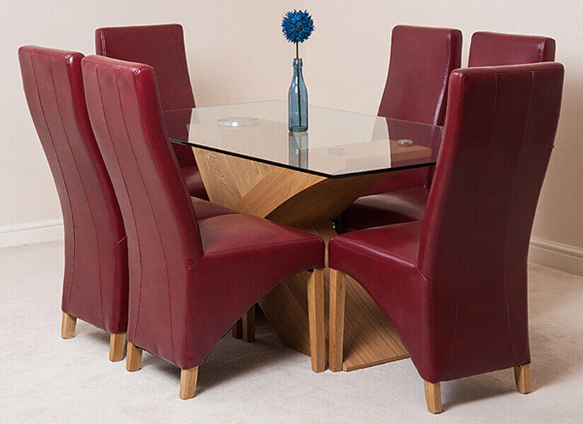 Small Dining Table Set For 4, Small Glass And Wood Dining Table Chair Oak Valencia With Lola Fabric Or Leather Ebay