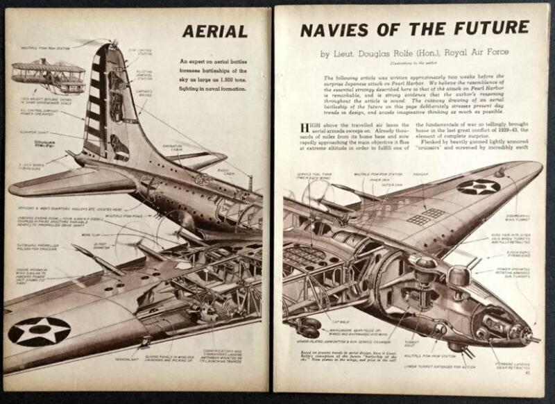 """Fighting Planes of the Future 1942 Douglas Rolfe pictorial & """"At Sea in a PT"""""""