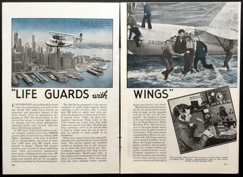 Coast Guard 1938 Flying Boat pictorial Hall PH-2 - General Aviation PJ-1 -Fokker