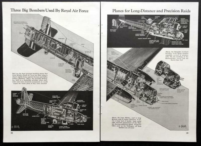WWII British RAF Bombers Wellington 1941 cut-away pictorial Hampden Whitley