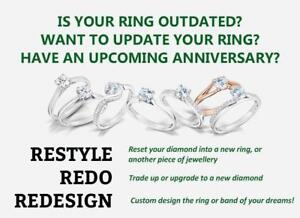 Tired of the look of your ring? Reinvent your engagement ring through remounting!