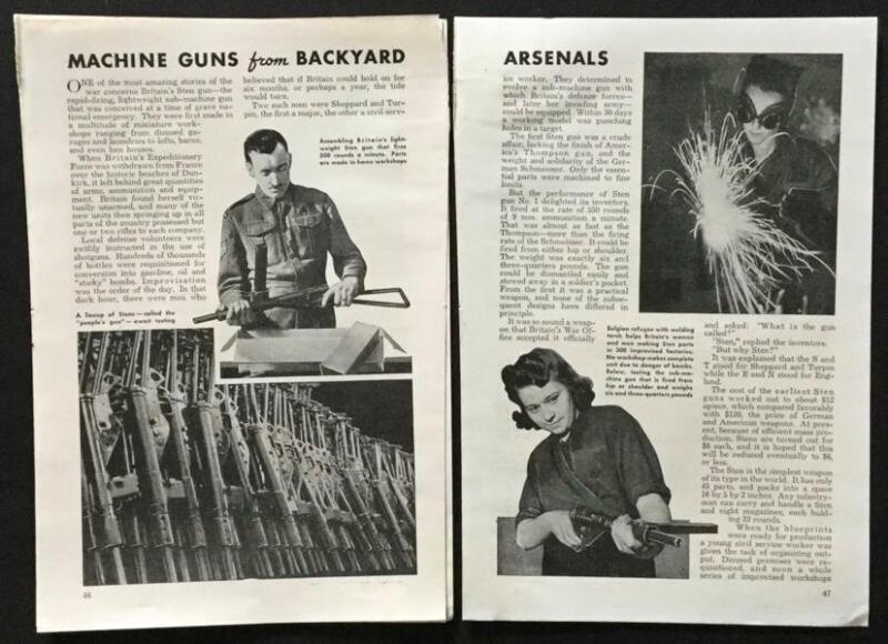 """British Sten Gun Mark 1 WWII 1943 pictorial """"Machine Guns from Backyard arsenals"""
