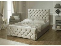 """Silver Crushed Velvet Bed With 54"""" High Headboard & Dual Sided Memory Foam Mattress"""