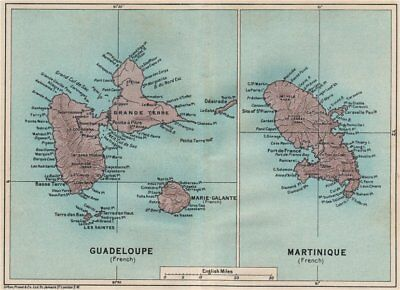 ANTILLES FRANÇAISES. Martinique Guadeloupe. French West Indies vintage map 1927