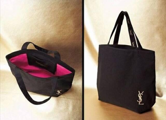 Yves Saint Laurent YSL Black Canvas SHOPPER Bag Eco Tote Bag | eBay