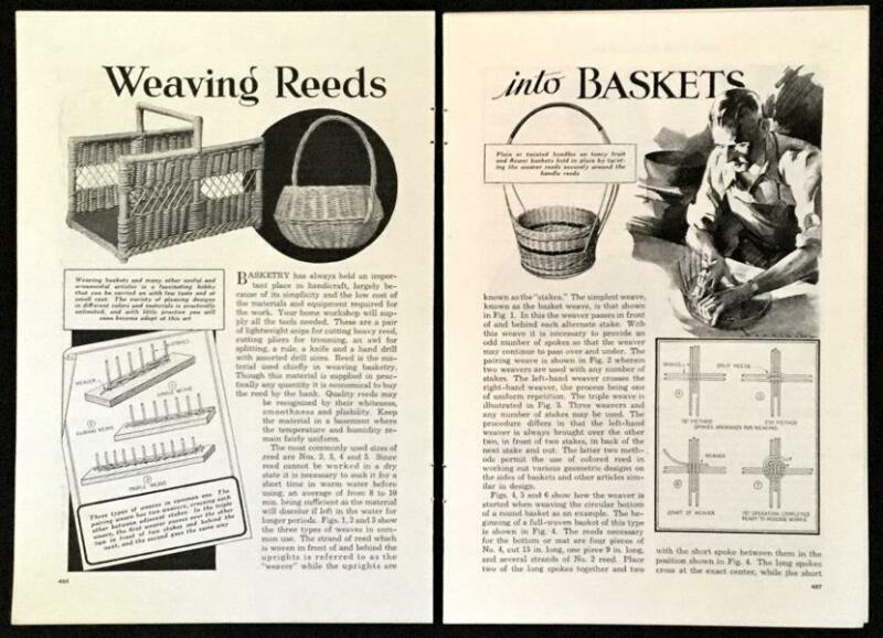 Weaving Reed Baskets 1934 vintage HowTo INFO Instructions