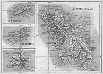WEST INDIES. Martinique, Marie-Galante, Desirade, Iles Saintes 1878 old map