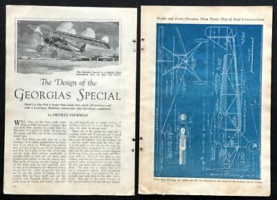 Georgia Special 27' Monoplane Airplane 1930 HowTo build PLANS