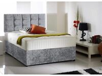 Double Divan Bed crushed velvet with headboard & mattress