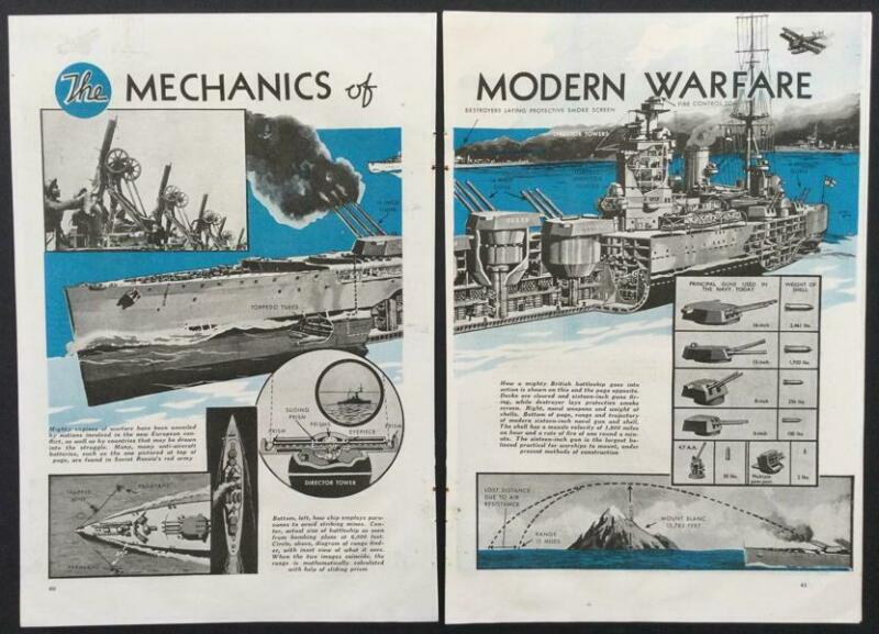 """Mechanics of Modern Warfare"" 1940 pictorial Royal Navy Battleship Destroyer +++"