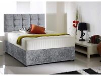 Silver Crushed Velvet Bed With Headboard and Dual Sided Memory Foam Mattress
