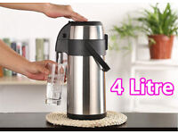 New 4 Litre Pump Press Airpot Flask Jug Stainless Steel Thermos Coffee Tea Hot & Cold Drink