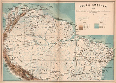 Northern South America.Brazil Guianas Venezuela Colombia Ecuador Peru 1885 map