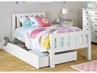 NEW BOXED OFF WHITE SINGLE WOOD BED + GUEST BED.
