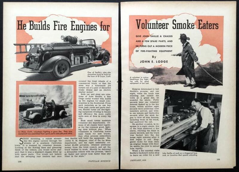Custom built Fire Engines Trucks 1939 John Smillie vintage pictorial article