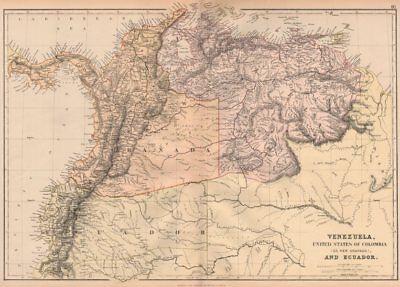 S AMERICA NW. Venezuela, New Granada(Colombia) w/Panama Ecuador.BLACKIE 1882 map