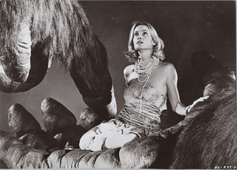 King Kong 1976 Jessica Lange sits in Kong