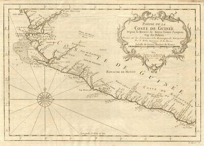 'Partie de la Coste de Guinée'. Sierra Leone & Liberia coast. BELLIN 1747 map