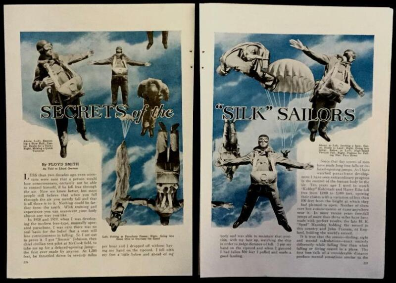 "Free Fall Parachute 1934 pictorial ""Secrets of the Silk Sailors"" by Floyd Smith"