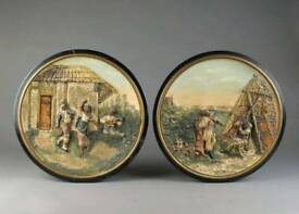 Set of 2 Antique Rare Large German Plaques