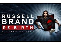 2 RUSSELL BRAND RE:BIRTH TICKETS - CRAWLEY, TUESDAY 4TH JULY (4TH ROW) - CAN DELIVER TODAY