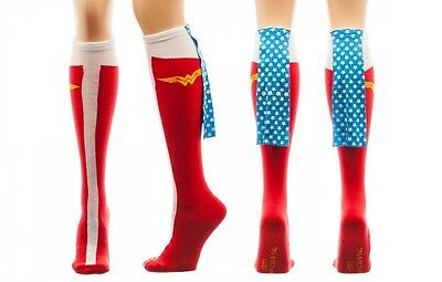 Wonder Woman with Cape 1 Pair Women's Knee High Socks DC Comics Caped USA (Wonder Woman Socks With Cape)