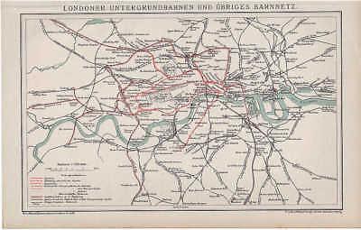 LONDON U-Bahnnetz TUBE Underground ORIGINAL Karte von 1894