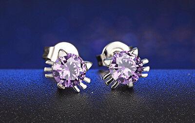 Purple Austrian Crystal Cat Earrings with Ears and Whiskers](Cat Ears And Whiskers)