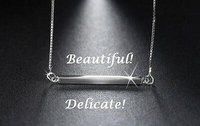 925 Sterling Silver Horizontal Bar Necklace Sideways Charm Pendant Gift For Her - Silver Gifts