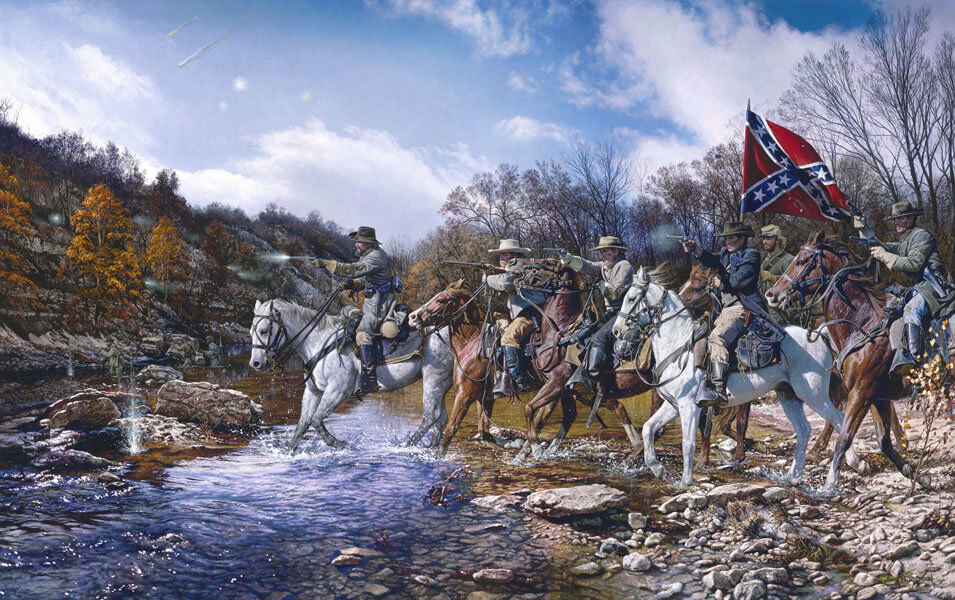 """Charge Across the Harpeth"" John Paul Strain Civil War Print"