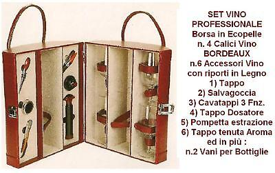 SET VINO mit Koffer Kunstleder 2 Plätze 4 Weingläser Flöte Glas 6 Zubehör PB0222 Set 4 Plätze