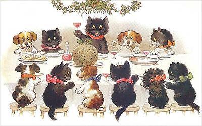 Cats  Chats  Katzen  Dogs  Christmas Dinner  Toasting The Dat  Fridge Magnet