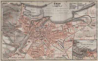 ORAN antique town city plan & environs. Algeria carte. BAEDEKER 1911 old map