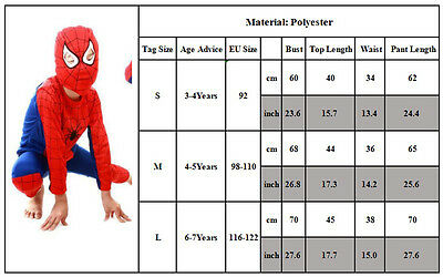 NEW Boys 3Pcs Spiderman Fancy Dress Outfits Cosplay Party Costume Kids sleepwear