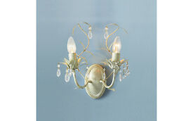 Gorgeous ivory & glass crystal Laura Ashley Lavenham chandelier wall lights