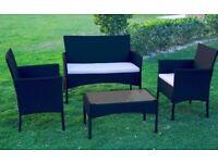 Black Rattan Garden Furniture 5 Piece Set