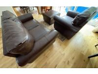 FREE Leather Sofa Armchair Footstool Complete Matching Set