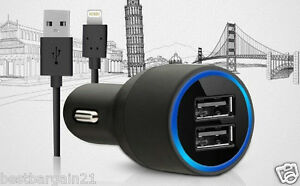 2 Port Twin Dual Car Charger Lighting Cable For Apple iPhone 6 Plus 5 5S 5C iPad