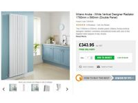 designer radiator. milano aruba, 1780 x 590mm double oval tube, white.