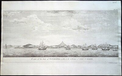 Antique map, A view of the land of Patagonia .. northward of port St. Julian