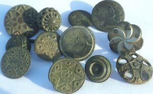 AWSOME-LOT-12-Old-Spanish-Colonial-Buttons-18-th-Century-Royal-Patriotic-Types