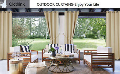 Grommet Top Panel - 4 Sizes Outdoor Curtains Grommet Top Thermal Insulated Blackout Waterproof Panel