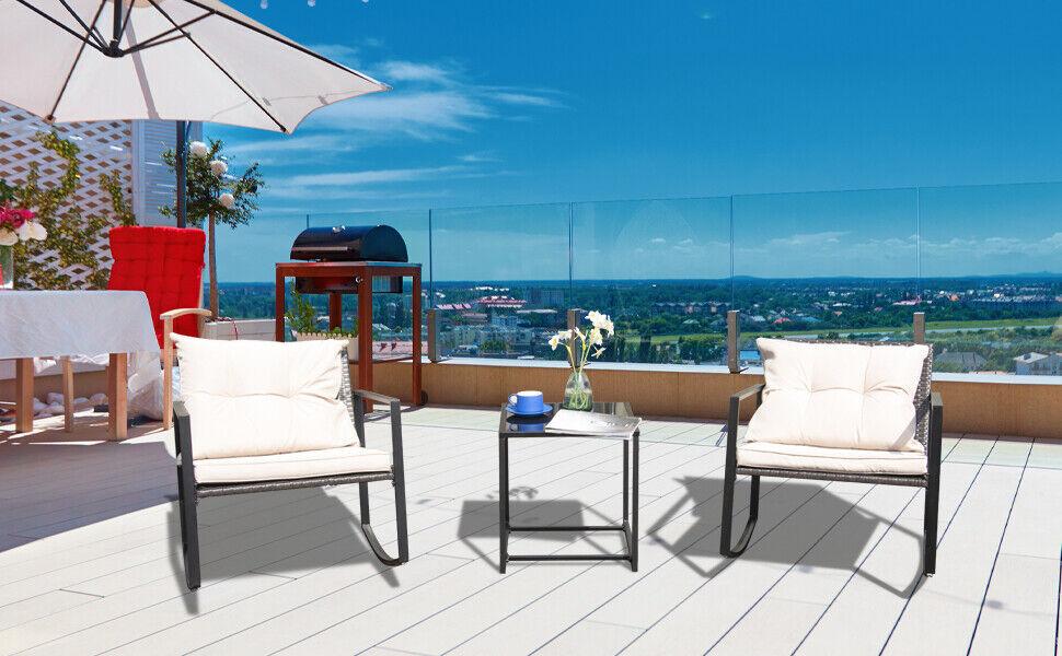 Garden Furniture - 3Pcs Patio Rocking Chair Table Outdoor Rattan Wicker Rocker Garden Furniture Set