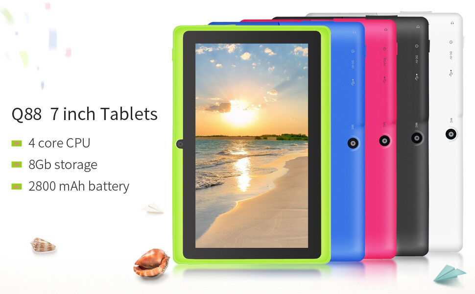 "Tablet - 7"" Google Android 4.4.2 Tablet w' WiFi Dual Cameras 8GB TUV Certification YUNTAB"