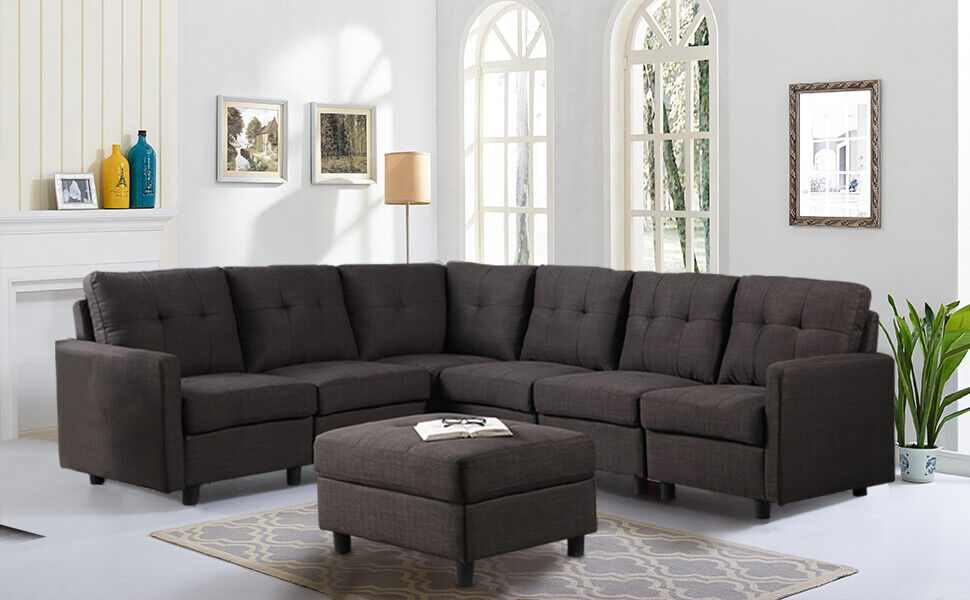 Convertible Sectional Sofa Couch Contemporary 7 Seats Cushion Reversible Ottoman