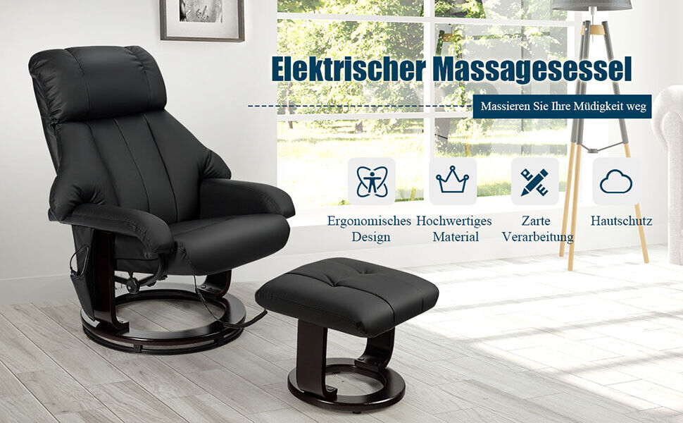 Massagesessel Fernsehsessel Relaxsessel mit Hocker Liegesessel Fernbedienung