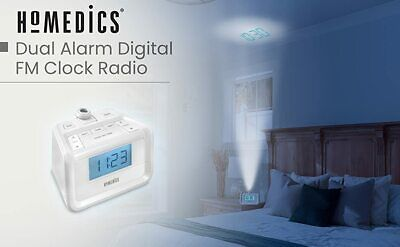 Homedics Sound Spa Projection Clock Radio White 8 Relaxation Sounds New Open Box