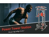 Power Tower Pull Up/Push Up/Dip Station/Home gym/Workout Station with dual weights pulley system